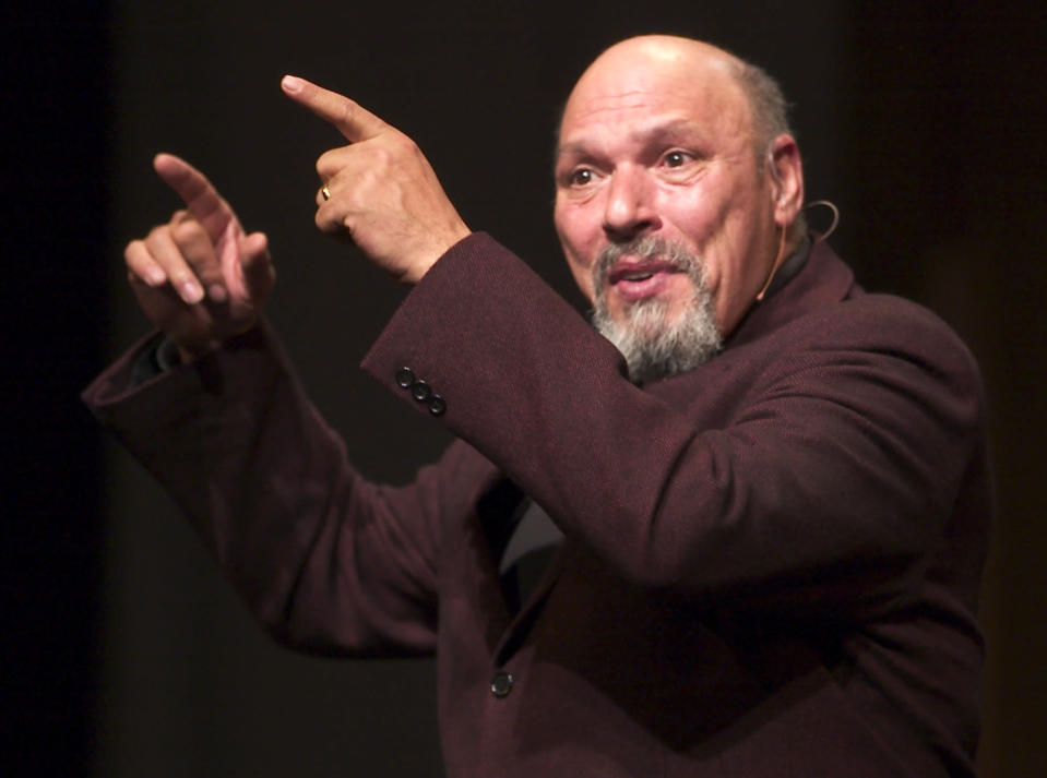 "FILE - Playwright/poet August Wilson performs his one-man act ""How I Learned What I Learned"" at the U S Comedy Arts Festival on March 4, 2004 in Aspen, Colo. A film adaptation of August Wilson's play ""Ma Rainey's Black Bottom,"" premieres on Netflix this Friday. (AP Photo\E Pablo Kosmicki, File)"