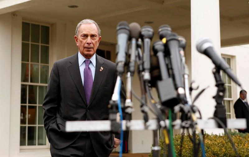 FILE PHOTO: New York Mayor Bloomberg prepares to speak to reporters after his meeting with U.S. Vice President Biden, at the White House in Washington