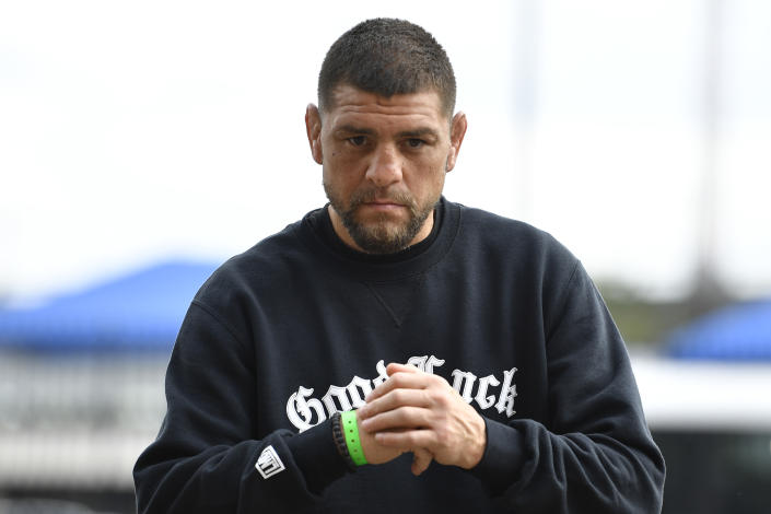 JACKSONVILLE, FLORIDA - APRIL 23:  Nick Diaz arrives to the UFC 261 Weigh-In at at VyStar Veterans Memorial Arena on April 23, 2021 in Jacksonville, Florida. (Photo by Chris Unger/Zuffa LLC)