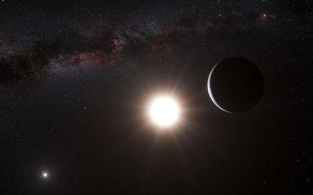 An artist's impression shows the planet orbiting the star Alpha Centauri B, a member of the triple star system that is the closest to Earth
