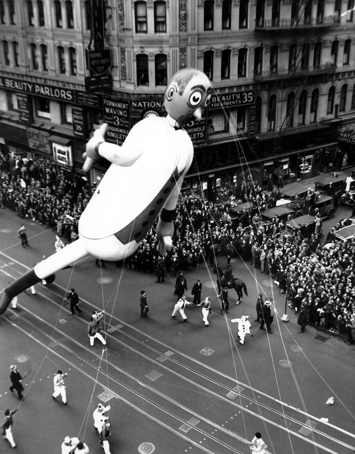 A scene from the Macy's Thanksgiving Day Parade along Broadway in New York City on Nov. 30, 1933. (Photo: AP)