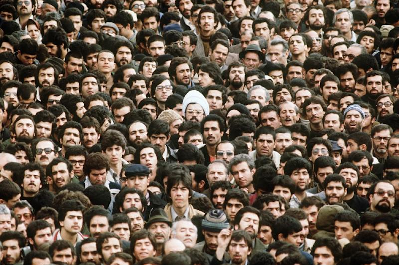 Crowds in Tehran in February 1979, several days after Ayatollah Ruhollah Khomeini's return (AFP Photo/GABRIEL DUVAL)