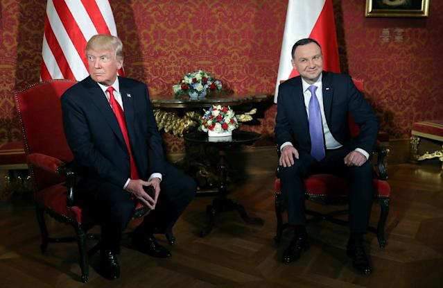 <p>President Donald Trump is greeted by Polish President Andrzej Duda as he visits Poland during the Three Seas Initiative Summit in Warsaw, Poland July 6, 2017. (Photo: Carlos Barria/Reuters) </p>