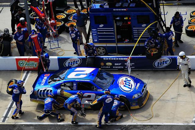 BRISTOL, TN - MARCH 18: Brad Keselowski, driver of the #2 Miller Lite Dodge, pits during the NASCAR Sprint Cup Series Food City 500 at Bristol Motor Speedway on March 18, 2012 in Bristol, Tennessee. (Photo by Chris Trotman/Getty Images)