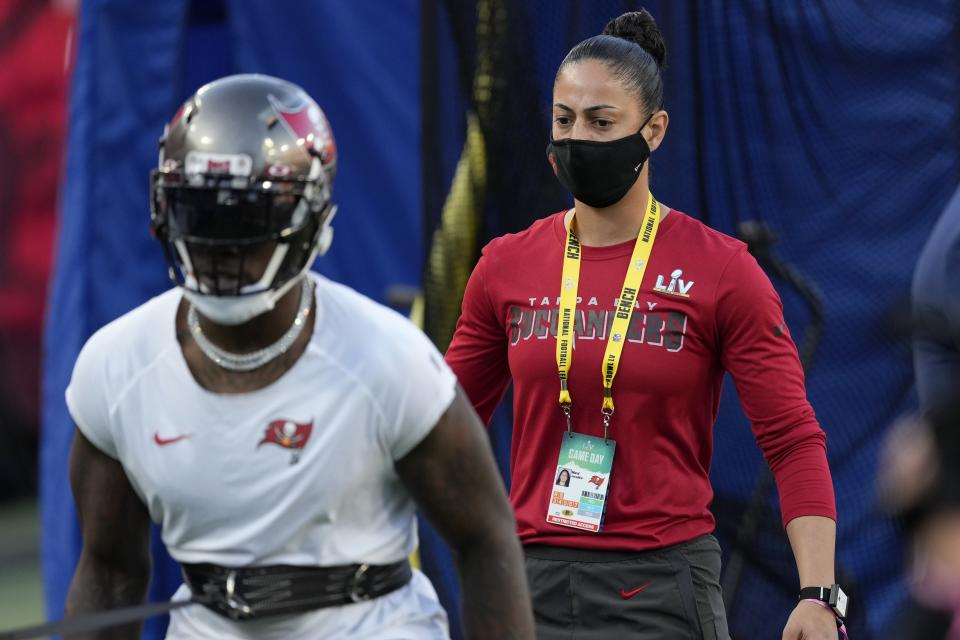 The Buccaneers' female coaches earned their spot on an NFL coaching staff. (AP Photo/Chris O'Meara)