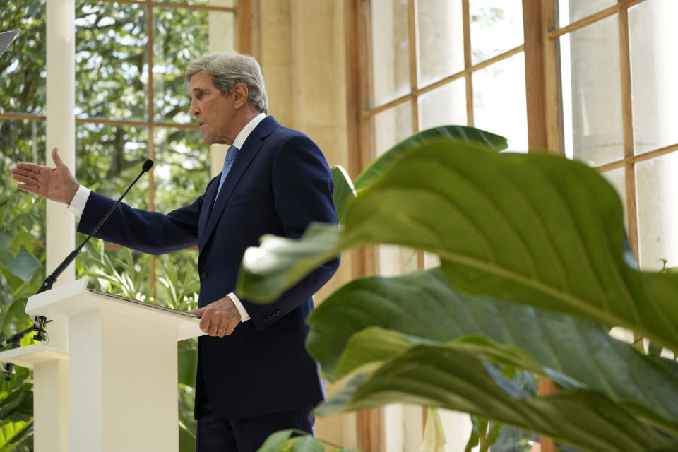 U.S. Special Presidential Envoy for Climate John Kerry delivers a policy speech in the Nash Conservatory at the Royal Botanic Gardens, Kew, in west, London, on a hot sunny day, Tuesday, July 20, 2021. The 19th century glasshouse was originally built in the grounds of Buckingham Palace and moved brick-by-brick to Kew in 1836. Temperatures in London hit 86 degrees Fahrenheit (30 Celsius) on Tuesday. (AP Photo/Matt Dunham)