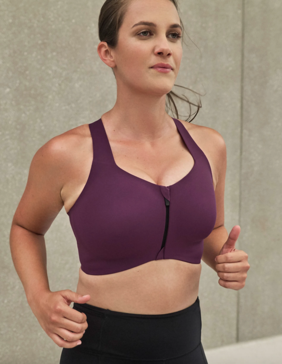 The Catalyst Front Zip Sports Bra provides tons of support during high impact workouts.