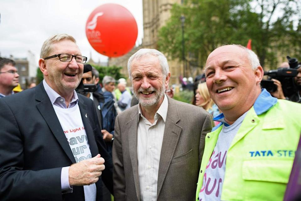 With Jeremy Corbyn on a steelworkers march in 2016: 'McCluskey's enthusiasm [for Corbyn] arguably got the better of him'