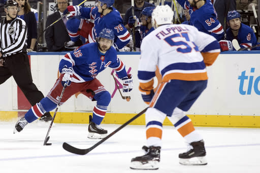 New York Rangers right wing Mats Zuccarello (36) skates against New York Islanders center Valtteri Filppula (51) during the second period of an NHL hockey game, Thursday, Jan. 10, 2019, at Madison Square Garden in New York. (AP Photo/Mary Altaffer)