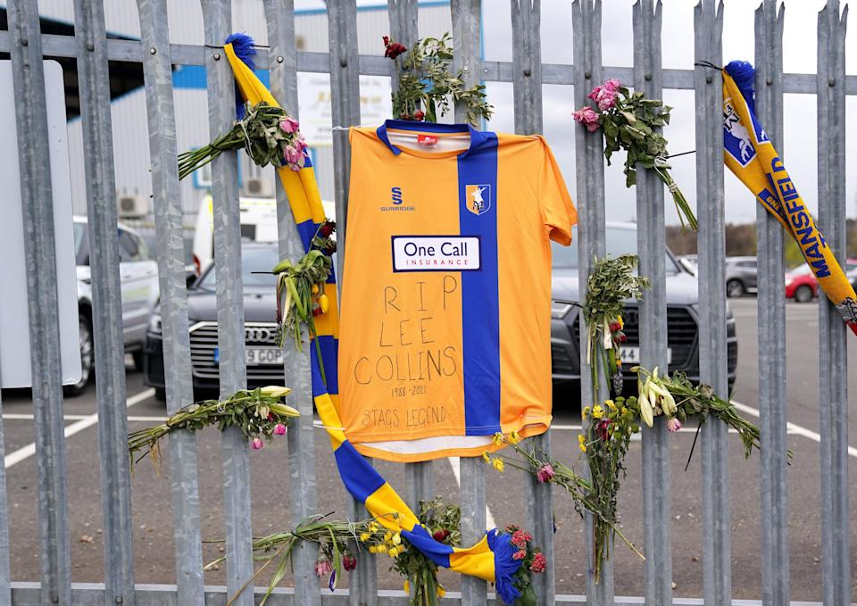 Tributes to former player Lee Collins (Zac Goodwin/PA) (PA Wire)