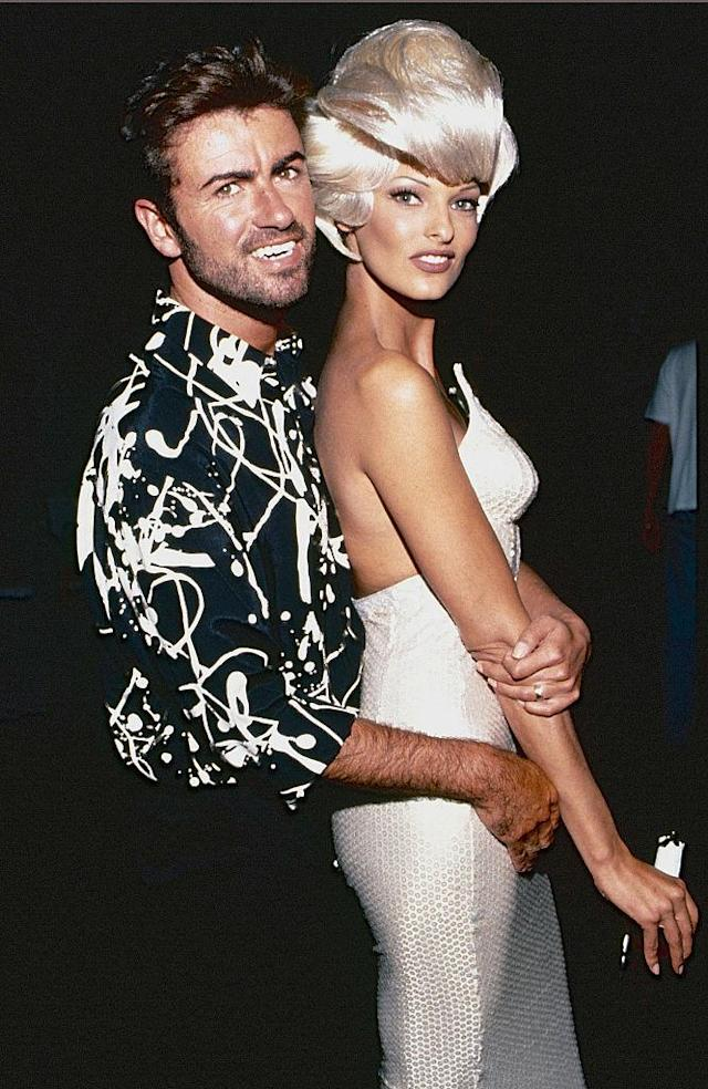 Linda Evangelista with George Michael in 1992. (Photo: Getty Images)