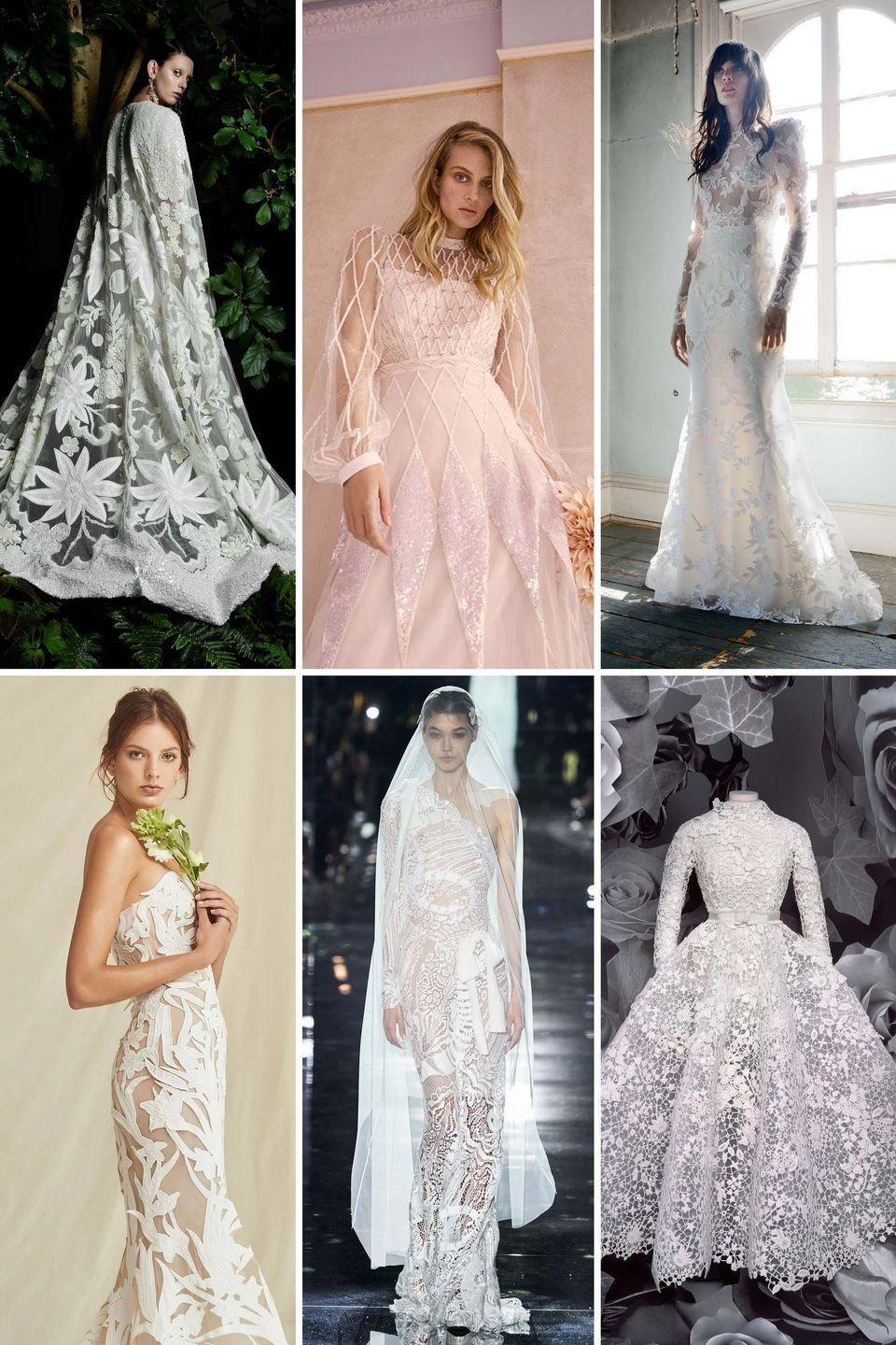 <p>Lace is bridal's biggest mainstay, and to reinvent it's traditional wheel proves challenging—but from laser-cut laces and graphic embroidery to statement motifs and all the re-embroidered and three-dimensional options in between, there were countless new ways to wear lace in the latest collections.</p><p>Whether you're after a slim fit, an A-line, or a ball gown, there's a new take on lace that's far beyond basic Chantilly to suit any style. Lean into all the new laces—from Tom Ford's patchwork to Dior's formal riff on Guipure—and consider how they'll best suit your wedding's setting. Nature-inspired and floral laces feel outdoorsy and effortless, while more graphic options feel like a modern take on metropolitan wedding dressing. Bring the feel of your gown into your veil for an even larger impact—but when you do, be sure the look still feels authentic and soft, rather than overwhelming.</p><p><em>Clockwise from left: Naeem Khan Bridal Fall 2021; Temperley London Bridal Fall 2021; Elizabeth Fillmore Bridal Fall 2021; </em><em>Oscar de la Renta Bridal Spring 2021; </em><em>Tom Ford Fall 2020; Christian Dior Fall 2020 Haute Couture.</em></p>