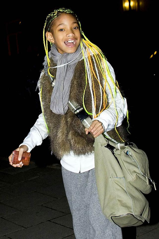 """We love Willow Smith's unique sense of style, however, we don't love her ridiculously long, neon-colored braids ... or that mangy fur vest. Ringo/<a href=""""http://www.pacificcoastnews.com/"""" target=""""new"""">PacificCoastNews.com</a> - March 19, 2011"""