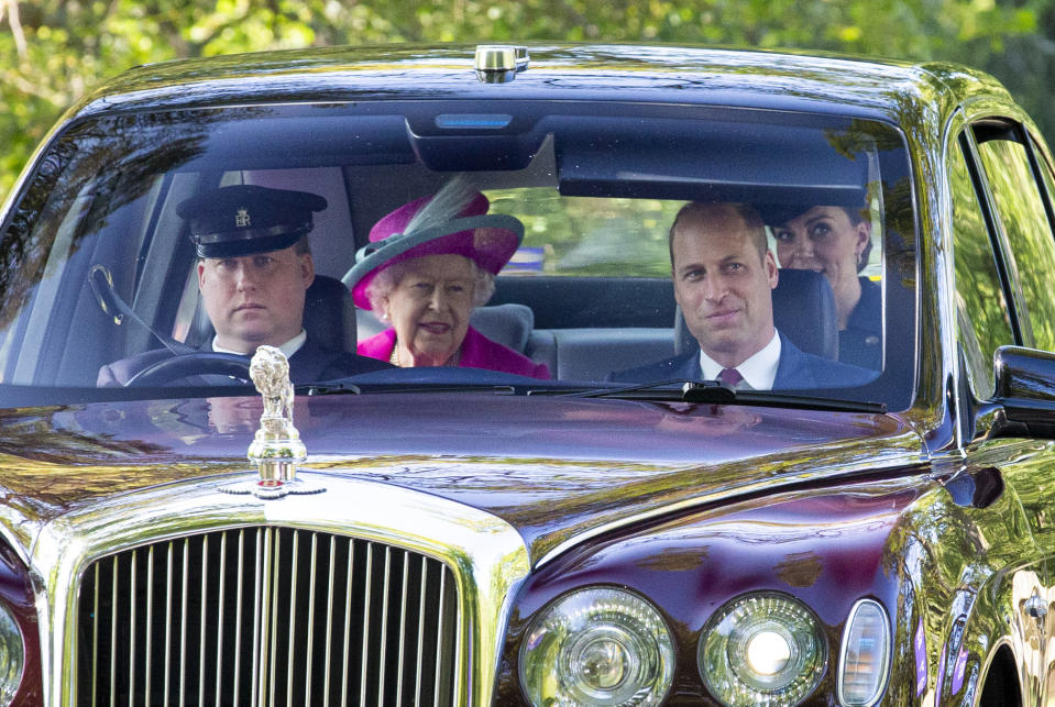 CRATHIE, ABERDEENSHIRE - AUGUST 25: Queen Elizabeth II, Prince William, Duke of Cambridge and Catherine, Duchess of Cambridge drive to Crathie Kirk Church before the service on August 25, 2019 in Crathie, Aberdeenshire. Queen Victoria began worshiping at the church in 1848 and every British monarch since has worshiped there while staying at nearby Balmoral Castle (Photo by Duncan McGlynn/Getty Images)