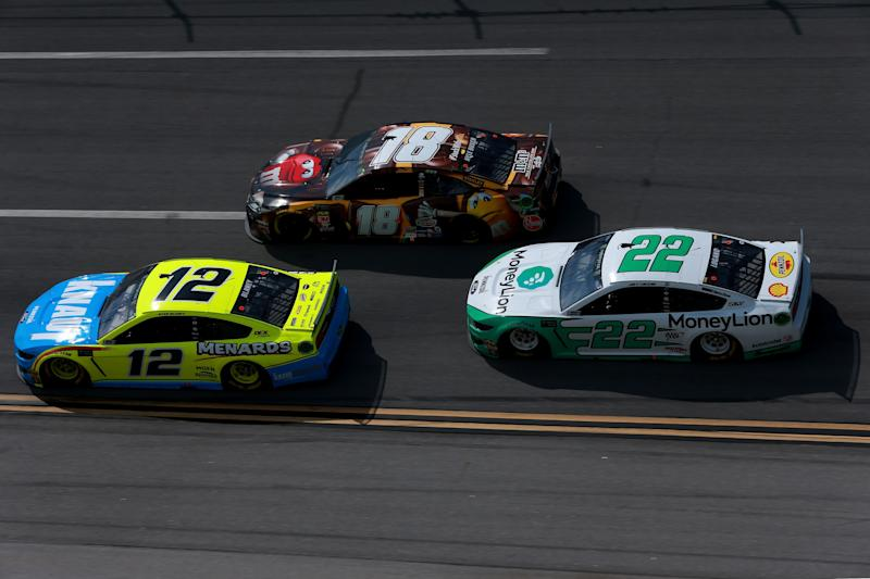 TALLADEGA, AL - APRIL 28: Ryan Blaney, driver of the #12 Menards/Knauf Ford, leads a group of cars during the Monster Energy NASCAR Cup Series GEICO 500 at Talladega Superspeedway on April 28, 2019 in Talladega, Alabama. (Photo by Sean Gardner/Getty Images)