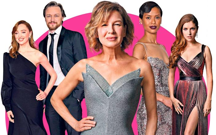 Clockwise from left: Phoebe Dynevor, James McAvoy, Gugu Mbatha-Raw, Anna Kendrick and, centre, Renee Zellweger, before the ceremony