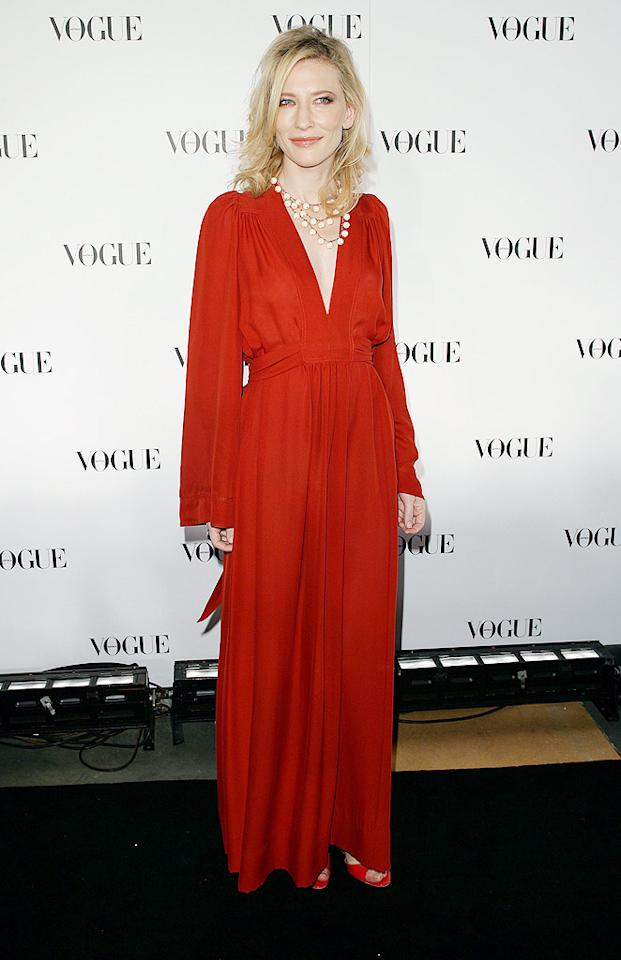 """Oscar winner Cate Blanchett took Sydney by storm at Vogue Australia's 50th anniversary dinner in a vintage scarlet frock (courtesy of Ossie Clark) and a statement necklace. Don Arnold/<a href=""""http://www.wireimage.com"""" target=""""new"""">WireImage.com</a> - July 31, 2009"""