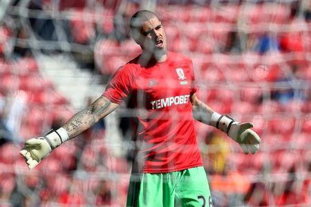 FILE PHOTO - Britain Football Soccer - Middlesbrough v Burnley - Premier League - The Riverside Stadium - 8/4/17 Middlesbrough's Victor Valdes during the warm up before the match  Reuters / Scott Heppell