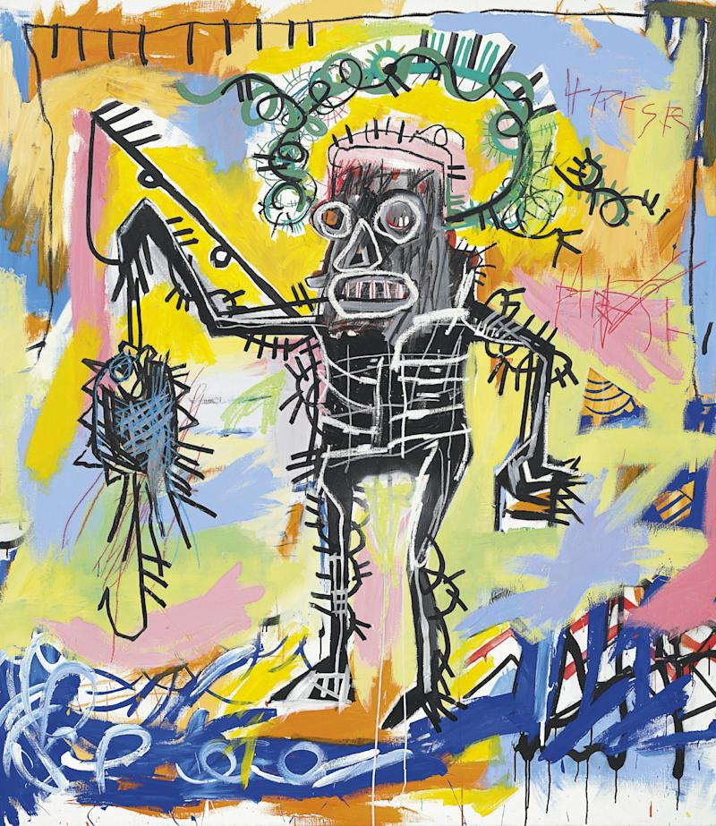 "This undated photo provided by Christie's shows Jean-Michel Basquiat's ""Untitled 1981"". Christie's auction house says the colorful acrylic and oilstick canvas could set a new record for the graffiti artist when it's offered in the fall. The current record is $20.1 million.  ""Untitled 1981"" is an important early work by the artist, who died at age 27. It goes on sale Nov. 14. (AP Photo/Christie's)"