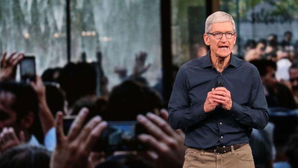 PHOTO: Tim Cook, CEO of Apple, speaks during an event at the Steve Jobs Theater at Apple Park on Sept. 12, 2018 in Cupertino, Calif. (Justin Sullivan/Getty Images)