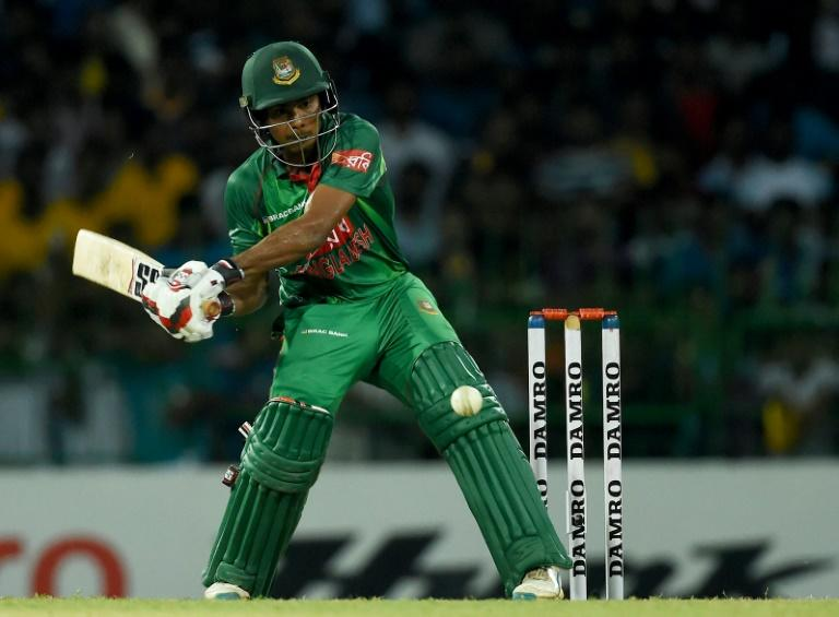 Bangladesh cricketer Mosaddek Hossain plays a shot against Sri Lanka at the R Premadasa Stadium in Colombo on April 4, 2017