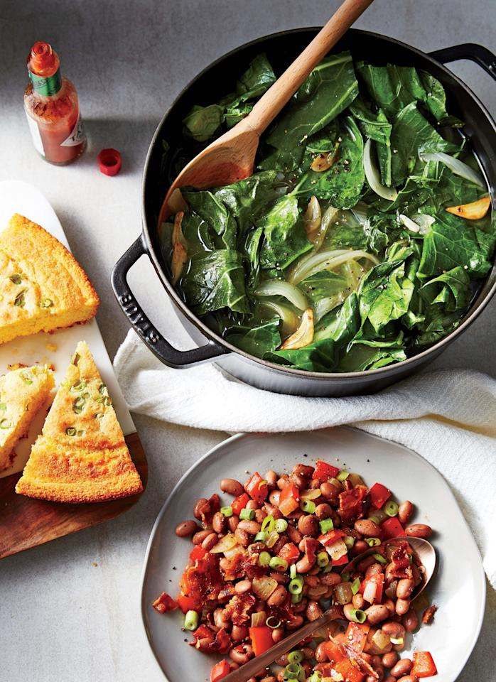 "<p>We skip the meat main and make sides the focus of the meal—easy to do with garlicky braised greens and pinto beans topped with bacon. Serve with skillet cornbread: Heat a cast-iron skillet on the stovetop while the oven preheats, and swirl in a couple of teaspoons oil before adding the batter. If you can't find collards, substitute stemmed curly kale or turnip greens, checking for doneness at around 20 minutes. For a vegetarian meal, sub vegetable stock for chicken stock and 1 tablespoon canola oil for the bacon drippings.</p> <p><a rel=""nofollow"" href=""http://www.cookinglight.com/recipes/braised-collard-greens-bacon-pepper-pinto-beans"">View Recipe: Braised Collard Greens and Bacon-Pepper Pinto Beans</a></p>"