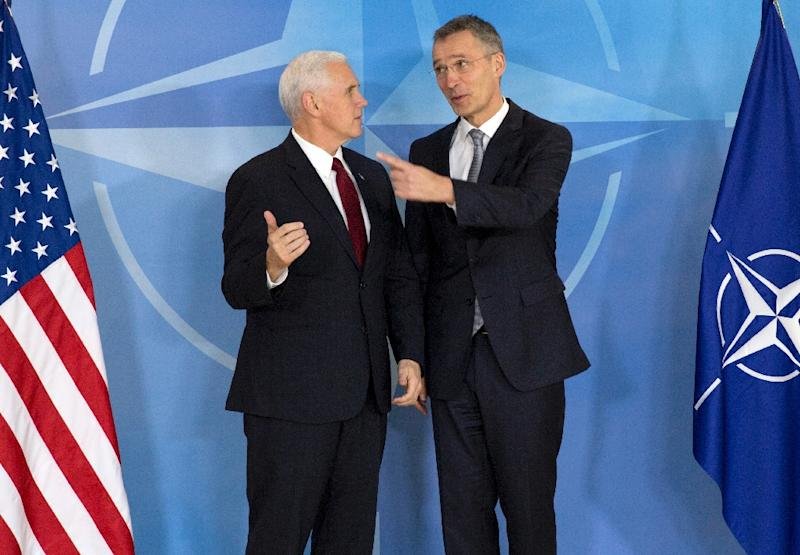 US Vice President Mike Pence (L) with NATO Secretary General Jens Stoltenberg, has gone to great lengths to reassure European leaders Washington is not giving up on its allies