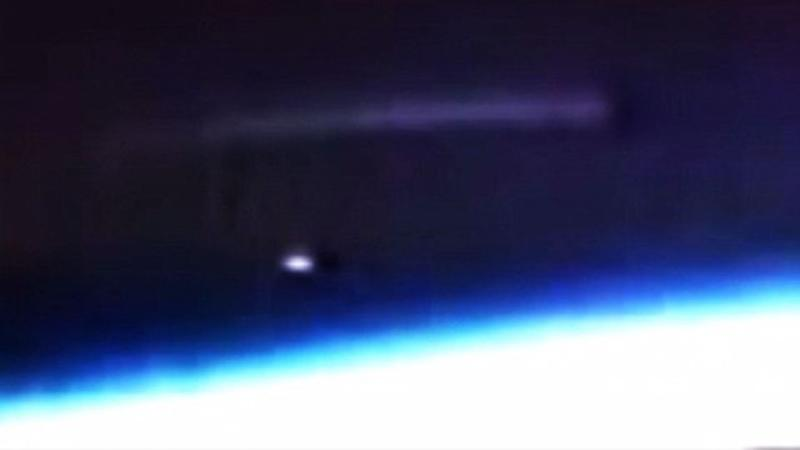 The bizarre cigar-shaped UFO and reflective orbs have caused a stir amongst UFO conspiracy theorists. Source: NASA