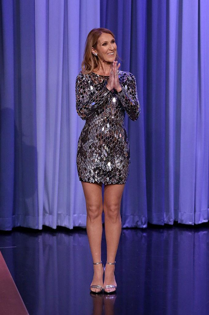 """<p>The queen! Dion stunned in a sequined minidress while hanging out with Jimmy Fallon on """"The Tonight Show."""" <i>(Photo by: Andrew Lipovsky/NBC/NBCU Photo Bank via Getty Images)</i><br></p>"""