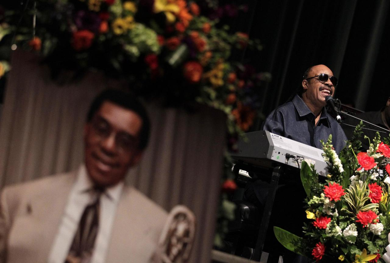 """Stevie Wonder performs during a private memorial service for """"Soul Train"""" creator and host Don Cornelius in Los Angeles, Thursday, Feb. 16, 2012. Cornelius died Feb. 1 from a self-inflicted gunshot wound. Since then, tributes to him and the show he created have been held around the country. (AP Photo/Jae C. Hong)"""