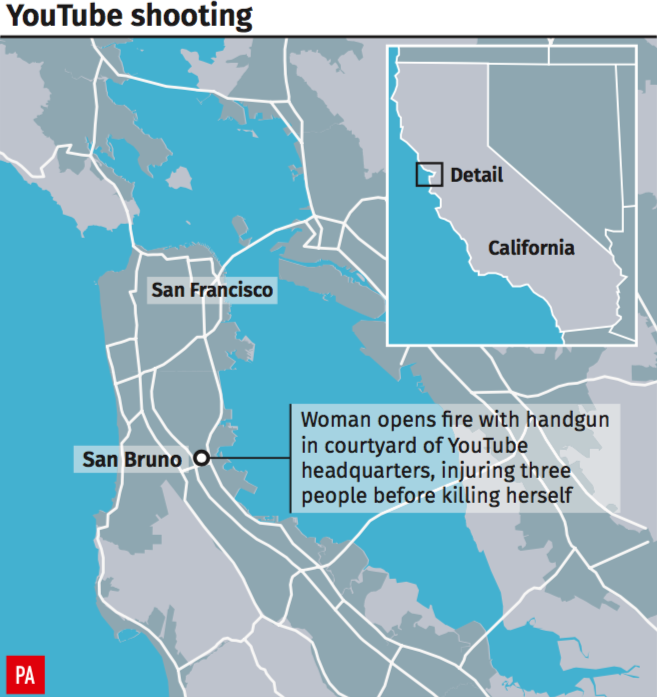 <em>The location of the shooting at YouTube HQ in San Bruno, California (PA)</em>