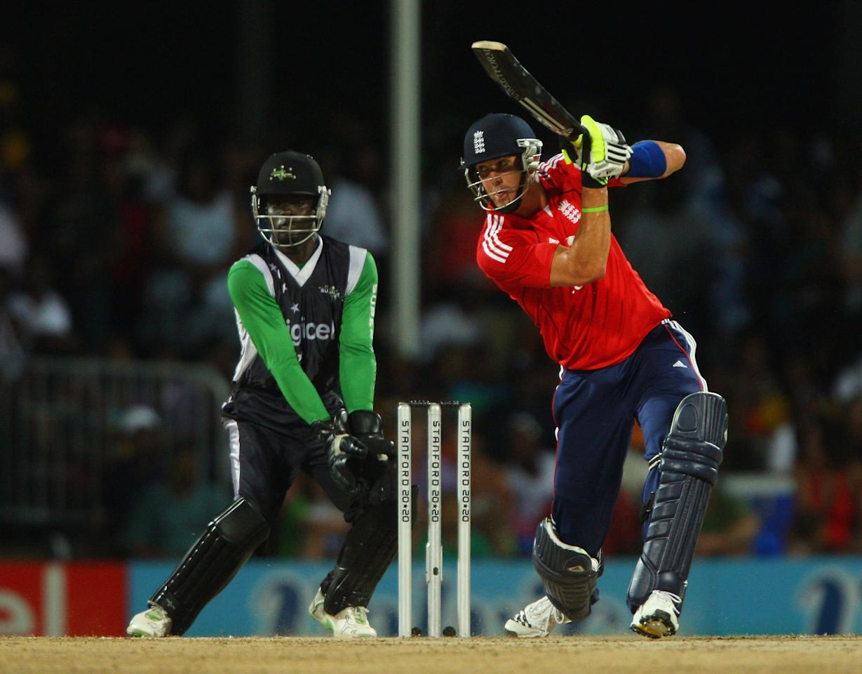 ST. JOHN'S, ANTIGUA AND BARBUDA - NOVEMBER 01: Kevin Pietersen of England hits out during the Stanford Twenty20 Super Series 20/20 for 20 match between Stamford Superstars and England at the Stanford Cricket Ground on November 1, 2008 in St Johns, Antigua  (Photo by Tom Shaw/Getty Images)