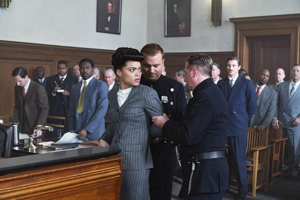 Billie Holiday wearing a skirt suit during trial