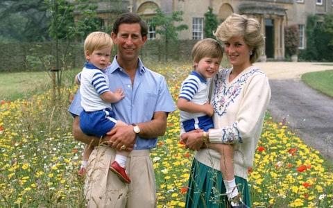 Princess Diana carrying Prince William at Highgrove