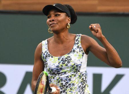 Mar 15, 2018; Indian Wells, CA, USA; Venus Williams (USA) reacts after winning her quarterfinal match against Carla Suarez Navarro (not pictured) in the BNP Paribas Open at the Indian Wells Tennis Garden. Mandatory Credit: Jayne Kamin-Oncea-USA TODAY Sports