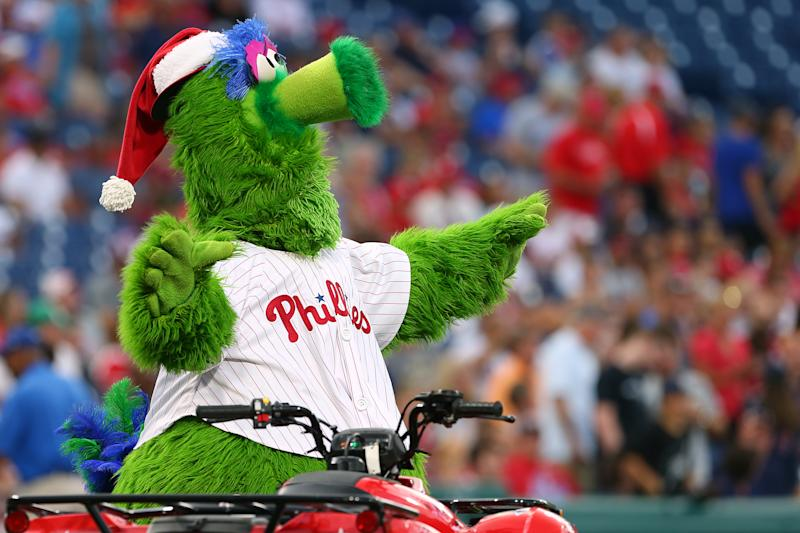 PHILADELPHIA, PA - JULY 26: The Phillie Phanatic before a game between the Atlanta Braves and Philadelphia Phillies at Citizens Bank Park on July 26, 2019 in Philadelphia, Pennsylvania. (Photo by Rich Schultz/Getty Images)