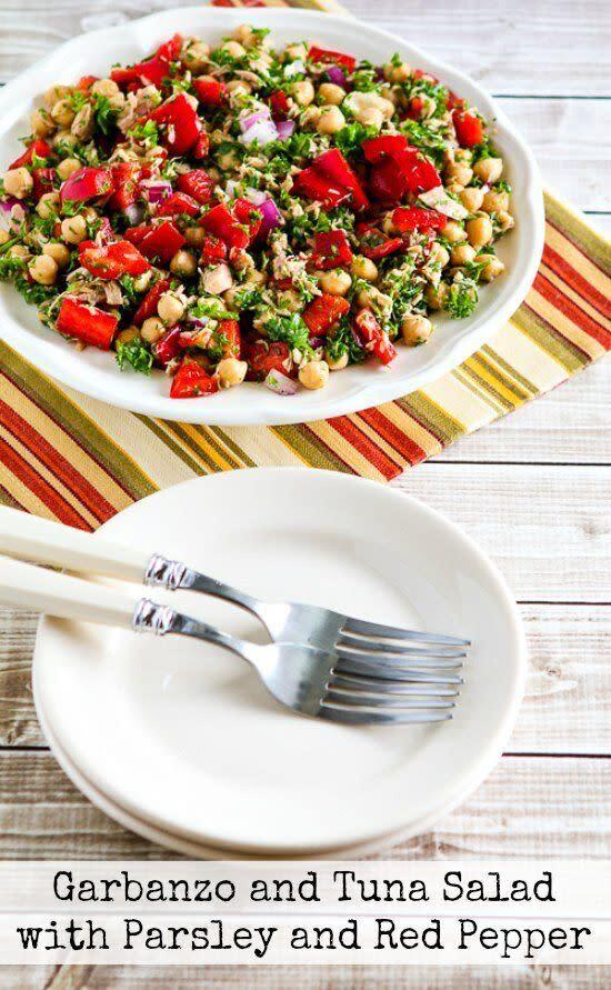 "<a href=""https://kalynskitchen.com/garbanzo-and-tuna-salad-recipe-with/"" rel=""nofollow noopener"" target=""_blank"" data-ylk=""slk:Get the Garbanzo and Tuna Salad with Parsley and Red Pepper recipe from Kalyn's Kitchen"" class=""link rapid-noclick-resp""><strong>Get the Garbanzo and Tuna Salad with Parsley and Red Pepper recipe from Kalyn's Kitchen</strong></a>"