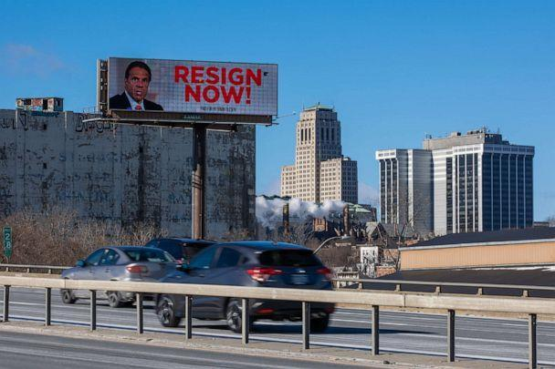 PHOTO: A billboard urging New York Governor Andrew Cuomo to resign is seen near downtown on March 2, 2021, in Albany, N.Y. (Matthew Cavanaugh/Getty Images)
