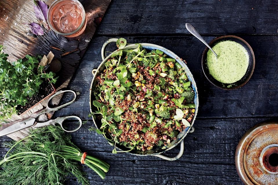 """Don't obsess over getting these exact ingredients in this precise combination. Any nut you like will work here for crunch, and you're looking for a mix of bright herbs and enough cooked grains to make this quinoa salad recipe substantial. <a href=""""https://www.bonappetit.com/recipe/farmers-market-quinoa-salad?mbid=synd_yahoo_rss"""" rel=""""nofollow noopener"""" target=""""_blank"""" data-ylk=""""slk:See recipe."""" class=""""link rapid-noclick-resp"""">See recipe.</a>"""