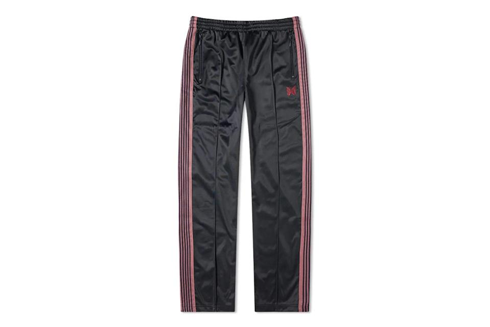 """Mastered the standard three-stripe Adidas pant and ready for a step up? Japan's Needles fashions grail-level trackpants with wide-legged silhouettes and bonkers color combinations. Not for the faint of heart.<br> <br> Needles tricot regular track pant $315, END.. <a href=""""https://www.endclothing.com/us/needles-tricot-regular-track-pant-hm233-ny.html"""" rel=""""nofollow noopener"""" target=""""_blank"""" data-ylk=""""slk:Get it now!"""" class=""""link rapid-noclick-resp"""">Get it now!</a>"""