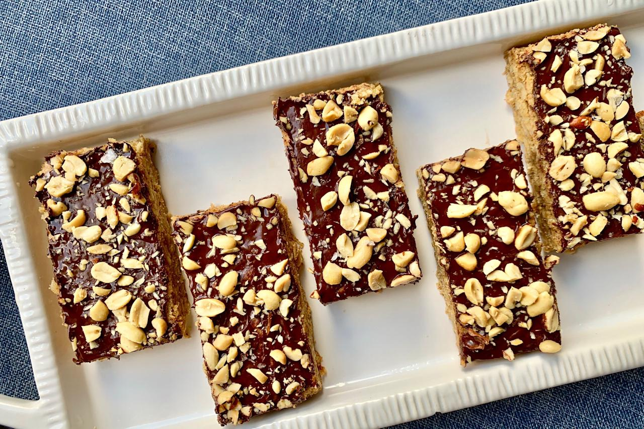"""<p><strong>Recipe: <a href=""""https://www.southernliving.com/recipes/peanut-butter-fingers"""">Peanut Butter Fingers</a></strong></p> <p>These rich peanut butter fingers are both salty and sweet and sure to satisfy any craving. </p>"""