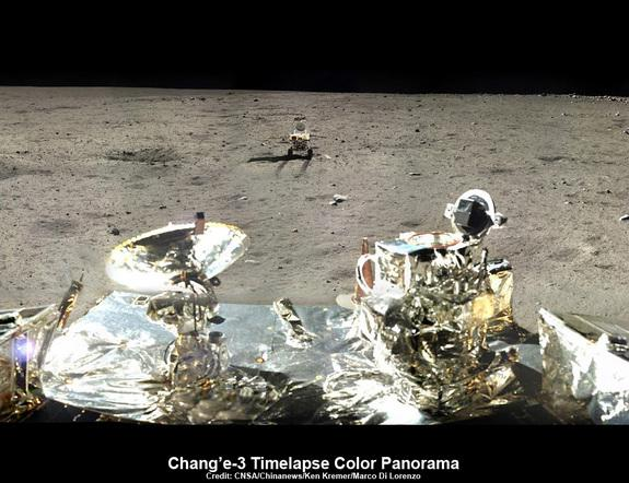 This time-lapse, cropped panorama of the Chang'e-3, Yutu Rover landing site shows the last position of the Yutu rover as it heads off to the south, departing the landing site. The image was created by Ken Kremer and Marco Di Lorenzo using Chang