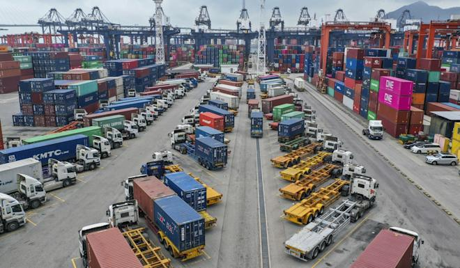 Hong Kong's competition watchdog has opened an investigation into whether a new 'super alliance' between four of the five operators at the Kwai Tsing Container Terminal breaches antitrust regulations. Photo: Roy Issa