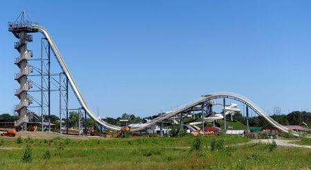 A general view of the Verruckt waterslide at the Schlitterbahn Waterpark in Kansas City, Kansas July 8, 2014. REUTERS/Dave Kaup/File Photo