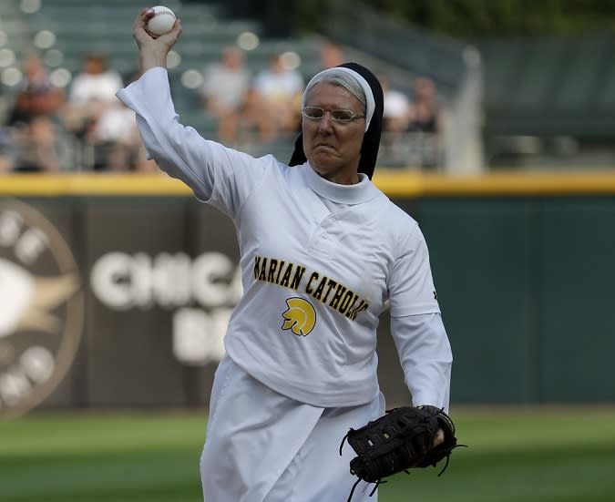 Sister Mary Jo Sobieck stole the show with her epic first pitch before Saturday's White Sox game. (AP)