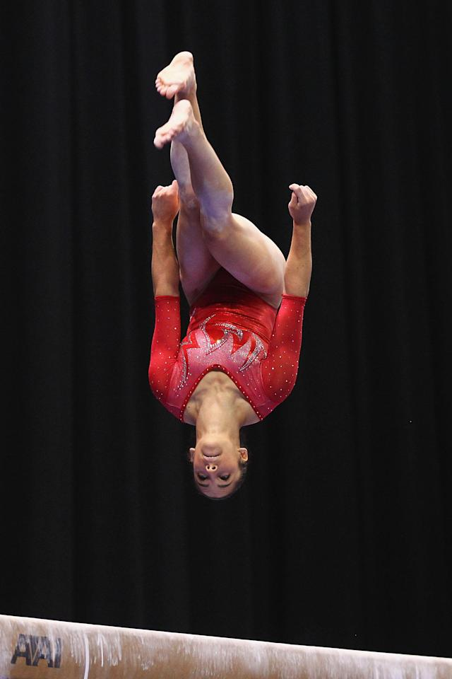 ST. LOUIS, MO - JUNE 8: Alicia Sacramone competes on the balance beam during the Senior Women's competition on day two of the Visa Championships at Chaifetz Arena on June 8, 2012 in St. Louis, Missouri. (Photo by Dilip Vishwanat/Getty Images)