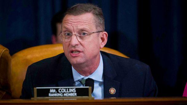 PHOTO: Doug Collins questions Intelligence Committee Minority Counsel Stephen Castor and Intelligence Committee Majority Counsel Daniel Goldman during the House impeachment inquiry hearings in Washington, Dec. 9, 2019. (Doug Mills//Reuters)