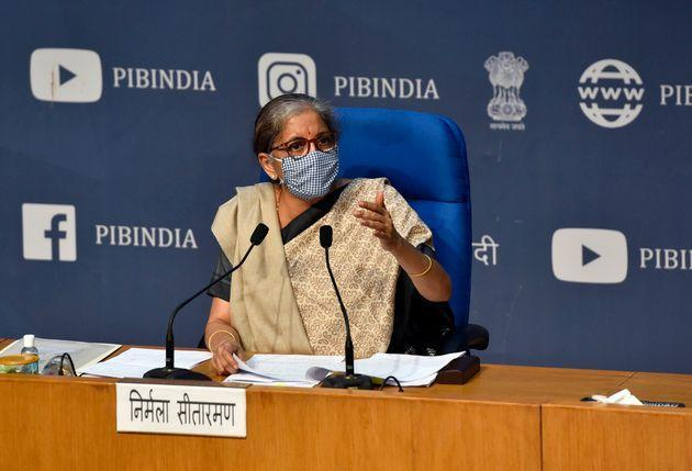 Union finance minister Nirmala Sitharaman addresses a press conference on Cabinet decisions at National Media Centre on November 11, 2020 in New Delhi, India.