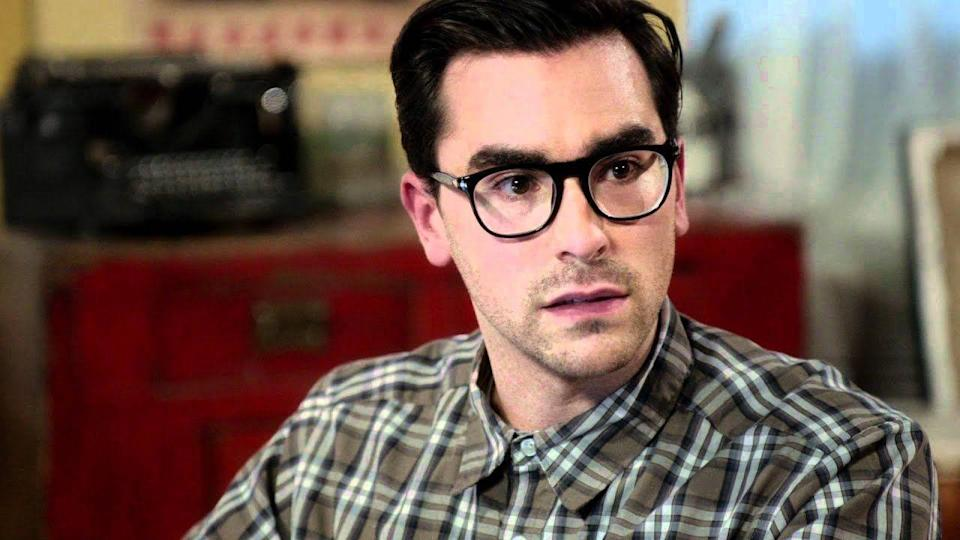 """<p>A few years before his breakout role in <em>Schitt's Creek</em>, Dan Levy and his famously bushy brows made their feature-film debut in the made-for-television chiller, <em>Cyberstalker</em>. The film centered on a woman (Mischa Barton) who is stalked by a mysterious threat–and while the plot synopsis sounds like <a href=""""https://www.esquire.com/entertainment/tv/a30613498/schitts-creek-best-alexis-rose-quotes-moments/"""" rel=""""nofollow noopener"""" target=""""_blank"""" data-ylk=""""slk:a misadventure of Alexis Rose"""" class=""""link rapid-noclick-resp"""">a misadventure of Alexis Rose</a>, the trailer clearly <a href=""""https://www.youtube.com/watch?v=Jf4Pg19mn4w"""" rel=""""nofollow noopener"""" target=""""_blank"""" data-ylk=""""slk:shows us"""" class=""""link rapid-noclick-resp"""">shows us</a> that Levy's gun-wielding character is far from the David Rose we know and love. </p>"""