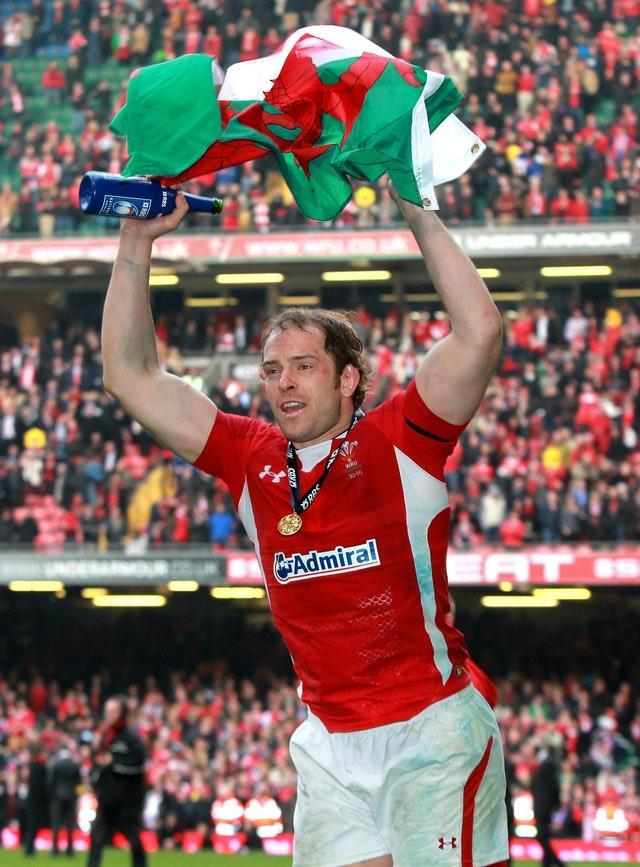 Alun Wyn Jones celebrates Wales' Six Nations Grand Slam win in 2012